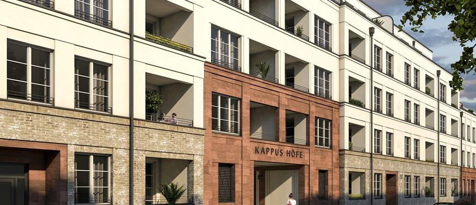 """Kappus Höfe - Die Hermann Immobilien GmbH vermarktet in Offenbach am Main  129 hochwertige Eigentumswohnungen. Mit dem Neubau """"Kappus Höfe"""" entstehen 1- bis 5-Zimmer-Einheiten mit Wohnflächen von 43 m² bis 141 m². Das Angebot ist für Sie provisionsfrei."""
