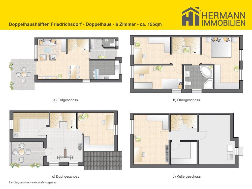 grundrisse und pl ne vom bauvorhaben doppelhaush lften friedrichsdorf. Black Bedroom Furniture Sets. Home Design Ideas