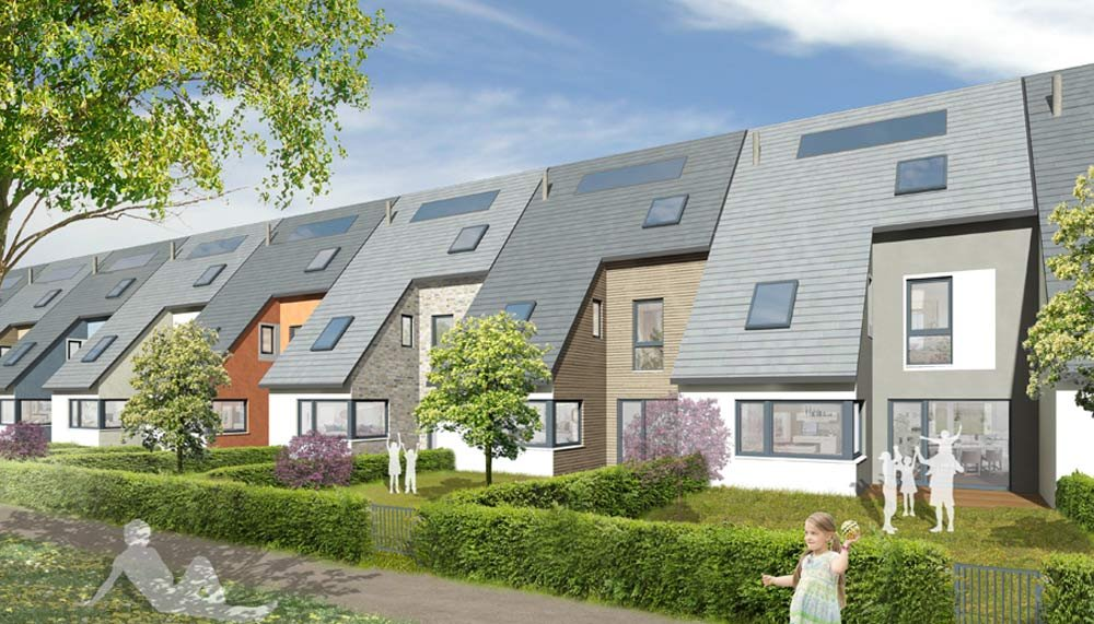 """Health-conscious construction methods in new build real estate"" - Title picture: modern terraced houses in the new build ""Leben am Osterholz Park"" real estate development project from property developer Krieger + Schramm."
