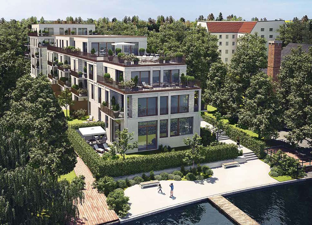 """Criteria for optimal investment in German real estate"". Title picture: Berlin-Köpenick new build real estate development project Living Spree 2.0 from developer BEWOCON."