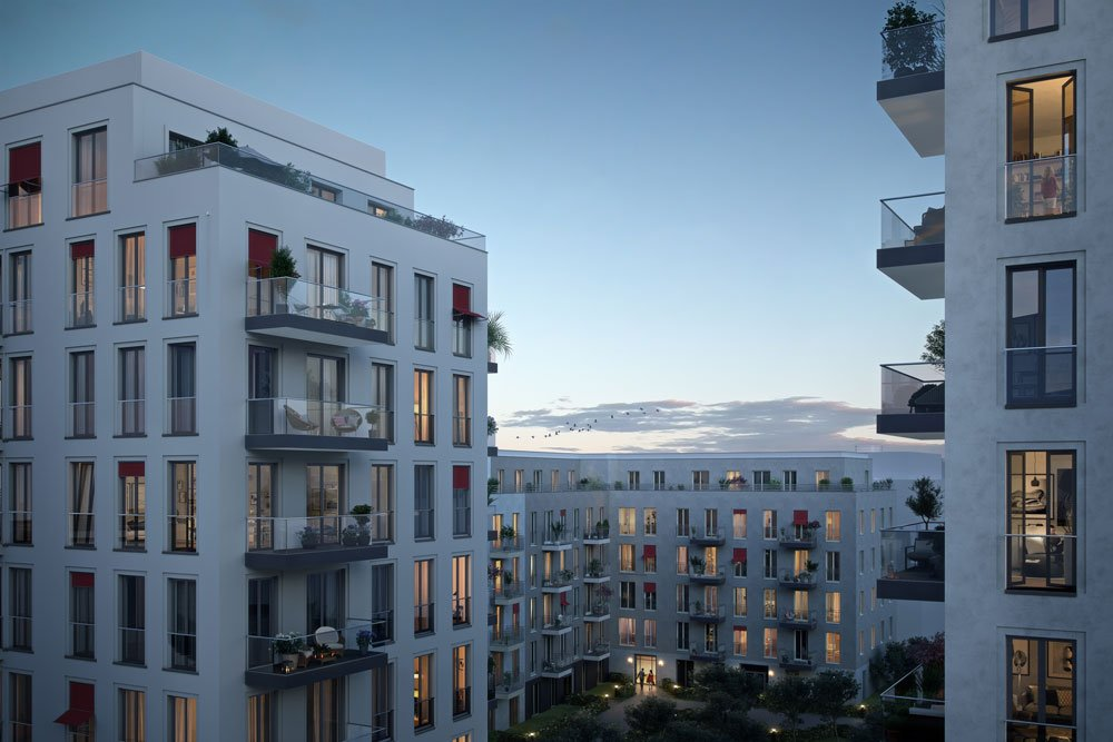 "Condominiums sharing the beautiful Berlin dusk out at the new build property development project ""No. 1 Charlottenburg from ZIEGERT real estate."