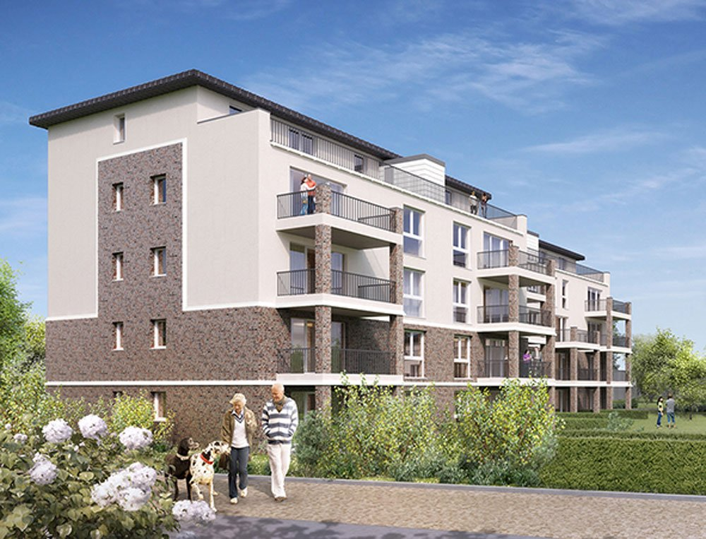 "Title picture: ""Leasing property under German 'hereditary building rights'"" – new build property development project ""Eigentumswohnungen-Sportplatz-Quartier"" – new build property development project ""Eigentumswohnungen-Sportplatz-Quartier"" in Tornesch from developer Grundstücksgesellschaft Manke GmbH & Co KG. SOLD OUT."