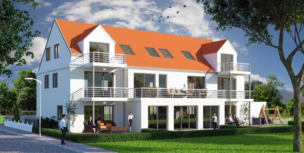 "Semi-detached family homes in the Augsburg new build property development project ""Königsberger Palais"" by Kusterer Real Estate."