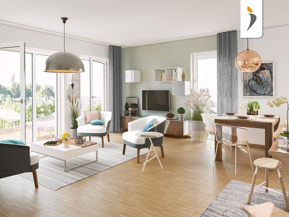 Title picture from new build property development project 'Living 138' von PROJECT Immobilien Hamburg, depicting an open-plan living-dining area home design concept.